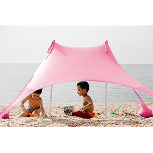 XD Panda Auvent de plage avec ancrage pour la sable, couleur ROSE 200* 200