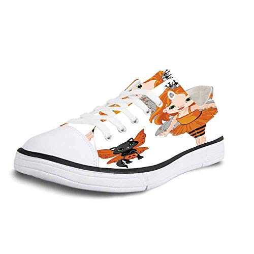 Canvas Sneaker Low Top Shoes,Halloween Halloween Baby Fairy and Her Cat in Costumes Butterflies Girls Kids Room Decor Decorative Women 7]()