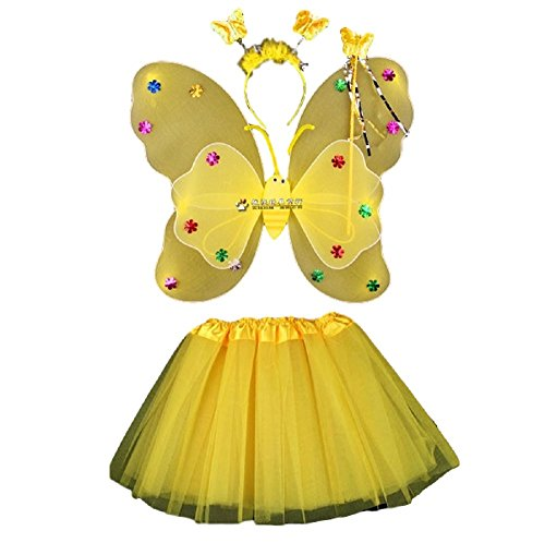 MJD Girls Fairy Style Costume Dress [Free Size, Huge Color, Dress 4 Piece Set] Halloween Costume (Wings For Sale Costumes)