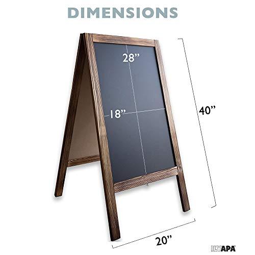 Wooden A-Frame Sign with Eraser & Chalk - 40'' x 20'' Magnetic Sidewalk Chalkboard – Sturdy Freestanding Sandwich Board Menu Display for Restaurant, Business or Wedding by Ilyapa (Image #3)