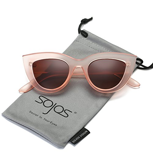SojoS Retro Vintage Cateye Sunglasses for Women Plastic Frame Mirrored Lens SJ2939 With Pink Frame/Brown Lens