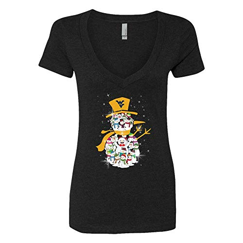 FanPrint West Virginia Mountaineers T-Shirt - Snowman Inside Snowman - Women's V-Neck Tee/Black/M