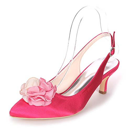 Cour Slingback 1608 Escarpins Femmes 20H EU38 Chaussures Mid Flower UK5 Robe Chaussures Rose Ager Heels HXwvzxz