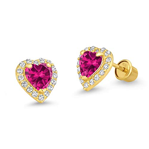 14k Gold Plated Brass Red Heart Screwback Children Earrings with Sterling Silver ()