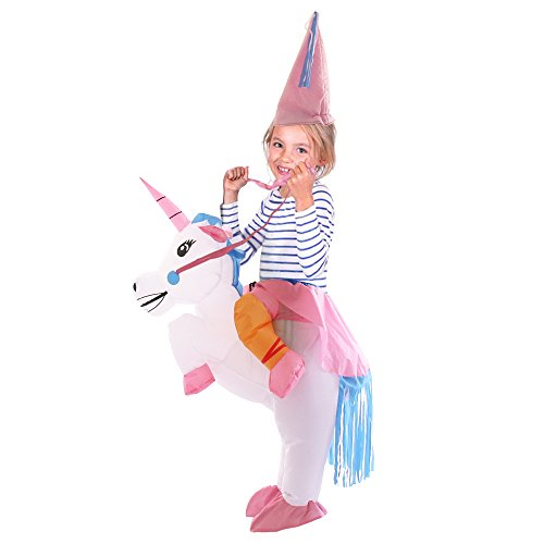 Yeahbeer Inflatable Halloween Costume Adult and Children Carry On Animal Fancy Dress Costumes (Unicorn for Children), White, (Kid Fancy Dress Costumes)