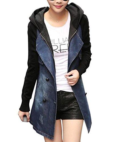 Femme Capuche Outwear Automne Coat Casual Printemps Manches Denim Jacket Gilet Veste Capuche SANKU Longues Jean avec Blouson Hoodie Jean Manteaux Hiver 4Bd4nq