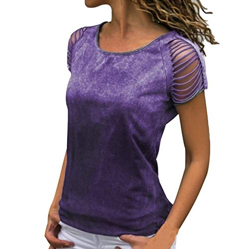 TUSANG Womens Shirt Sexy O-Neck Cut Out Crop Short Sleeve T-Shirt Solid Tops Blouse Slim Fit Comfy Tunic(Purple,US-4/CN-S)