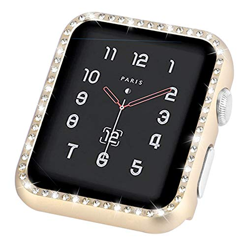 Coobes Compatible with Apple Watch Case 42mm, Compatible iWatch Metal Bumper Protective Cover Women Bling Shiny Crystal Rhinestone Diamond Compatible Apple Watch Series 3/2/1 (Diamond-Gold, 42mm)