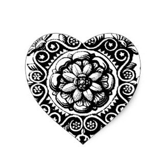 Fancy Scrolled Heart Sticker White and -