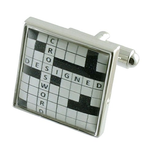 Select Gifts Crossword Puzzle Cufflinks Solid Sterling Silver 925 + Personalised Engraved Message Box