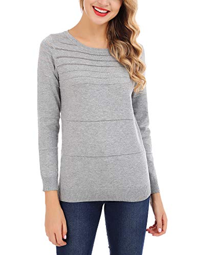 (FISOUL Womens Casual Long Sleeve Shirts Crew Neck Silver Striped Knit Pullover Sweater (Grey,)