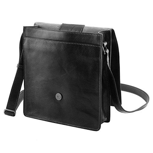 Tuscany Leather - TL Messenger - Sac bandoulière en cuir 1 compartiment - Noir