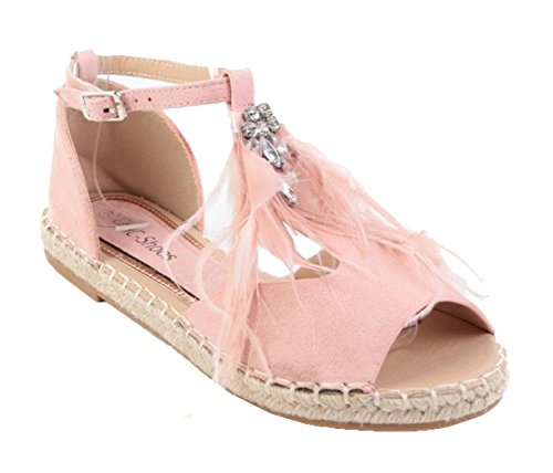 Buckle Shoes Sandals Pink Faux Ladies O55 Suede SHU Womens Espadrille Strap Ankle Flat CRAZY Diamante 7n8PxU