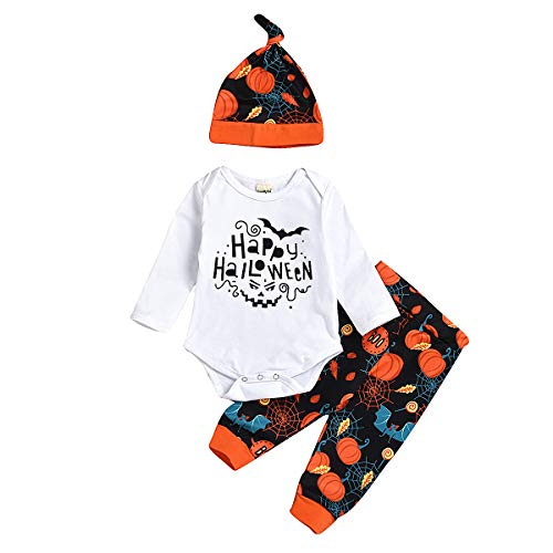 Little Girl Halloween Costume Patterns (Infant Baby Boy Girl Halloween Pumpkin Pattern Costume Romper Bodysuit Pants Hat Clothes Outfit Sets (18-24)
