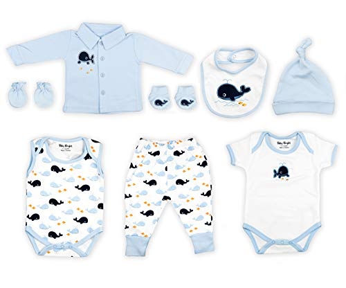 (Baby Bright Newborn Clothes Set for Boy 0 to 3 Months 8 pcs Set Made from 180GSM BioSilky 100% Combed Cotton with Embroidery Includes Bib Mittens Booties Pajama Set Cap and 2 Bodysuits )