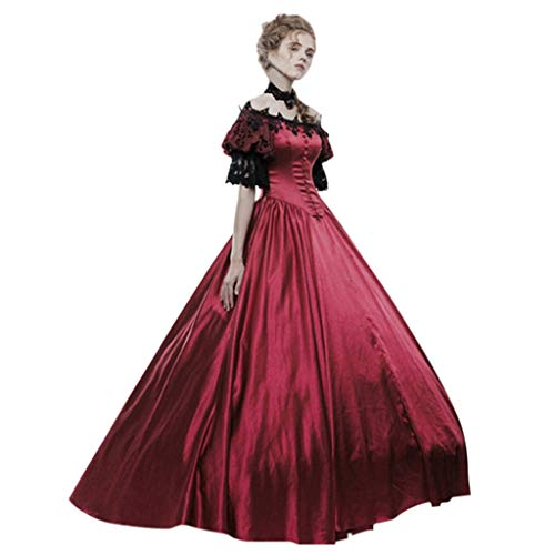 KLFGJ Halloween Women Medieval Vintage Dress Gothic Court Gown Cake Lace Costumes Clashing Dresses Red