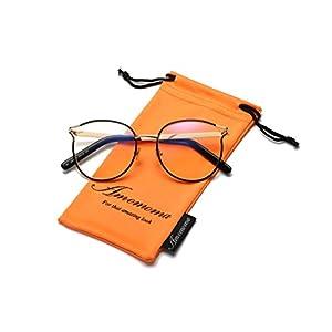 Amomoma Retro Round Women Eyeglasses Eyewear Optical Frame Clear Glasses AM5005 With Black Frame/Gold Temple