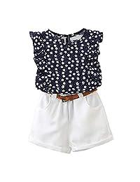 Milene88 Girls Round Neck Sleeveless Floral Print Top Solid Shorts Short Sets