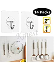 Wall Hook Stick On Adhesive Hooks 18KG Permanent Suction Stainless Steel Heavy Duty Reusable Hanger Kitchen Bathroom Hooks(x14pc)