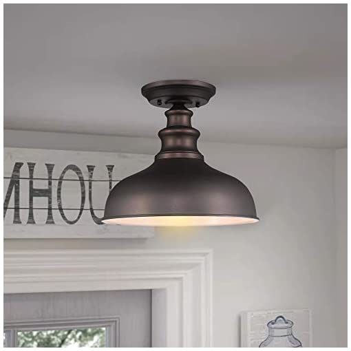 Farmhouse Ceiling Light Fixtures Zeyu Semi Flush Mount Ceiling Light 2 Pack, Farmhouse Indoor Flush Ceiling Light in Oil Rubbed Bronze Finish, 02A391-2PK… farmhouse ceiling light fixtures