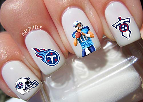 (Tennessee Titans Water Nail Art Transfers Stickers Decals - Set of 32)