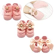 Elesa Miracle Non-skid Baby Girl Toddler Mary Jane Socks, Newborn Baby Photography Props Anti Slip Flower Pearl Bownote Socks Value Set in Gift Box (S for 0-6 Months, Pink)