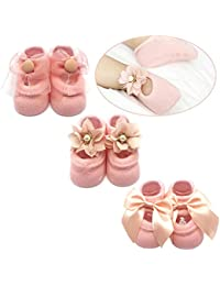 Baby Girl Newborn Baby Photography Props Anti Slip Flower Pearl Bownote Socks