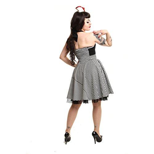 Rockabella pour femme sans manches dos nu-marina robe rockabilly robe pin-up noir et blanc rayé