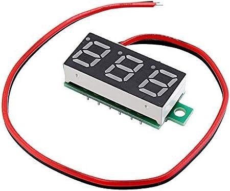 NARJOG 10pcs 0.28 Inch Two-wire 2.5-30V Digital Blue Display DC Voltmeter Adjustable Voltage Meter