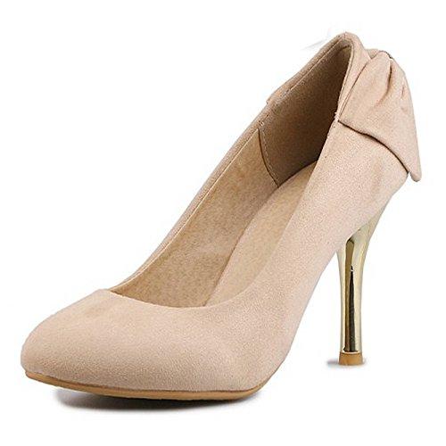 89c5ff808eb COOLCEPT Mujer Moda Tacon De Aguja Bombas Zapatos Sin Cordones Zapatos Tacon  Alto Delgado Albaricoque