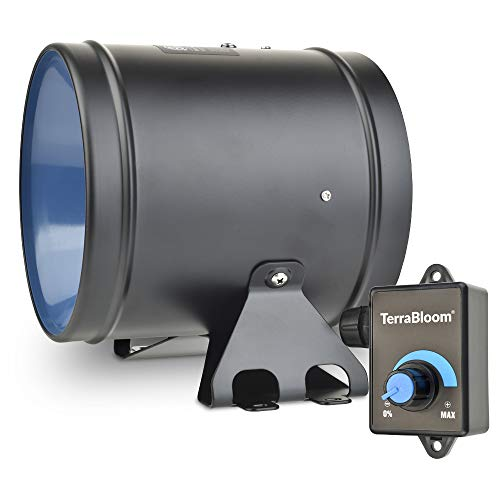 "TerraBloom 6"" Inline Duct Fan, Quiet Energy Saving EC Motor with 0-100% Adjustable Speed Controller. 350 CFM, 40W. Ventilation for Grow Tents, Odors Exhaust, Heating and Cooling Duct Booster."