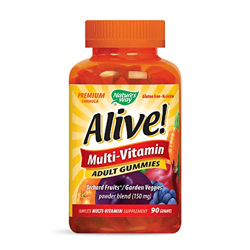Nature's Way Alive!® Adult Premium Gummy Multivitamin, Fruit and Veggie Blend (150mg per serving), Full B Vitamin Complex, Gluten Free, Made with Pectin, 90 Gummies