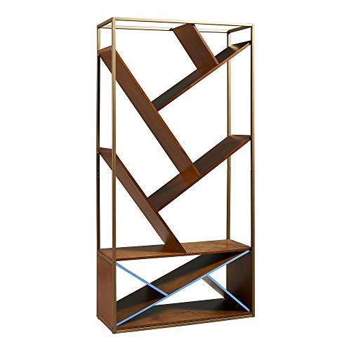 Versanora VNF-00057 Wellton Bookcase | Home Office Bookshelf - Walnut/Brass, 35.25