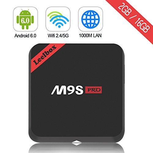 Leelbox M9S Pro Android 6.0 TV Box 64Bit S912 Octa-core CPU 2GB Ram+16GB Rom Supporting 4K (60Hz) Full HD/ H.265 /2.4G+5G Dual-Band WiFi/BT 4.0/1000M lan
