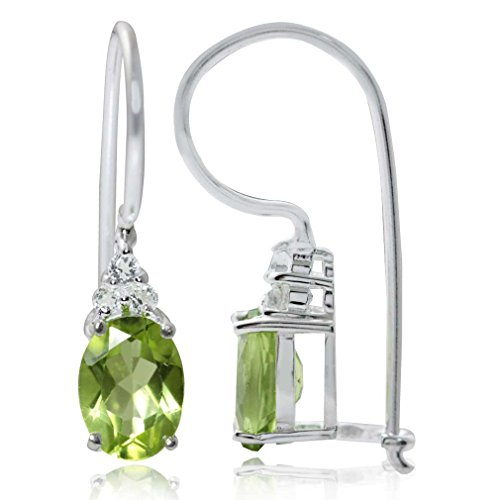 Vs1 Earring (1.75ct. Natural Peridot & White Topaz 925 Sterling Silver Hook Earrings)