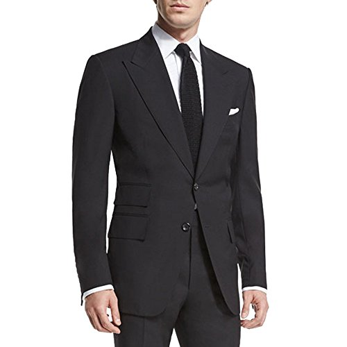 - HBDesign Men 2 Piece 2 Button Notch Lapel Slim Fit Fashion Formal Suit Black 36R