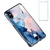 Oddss Case Compatible for iPhone Xs/X 10(5.8 inch) with Card Holder Slot Ultra-Slim Thin Soft TPU Clear Wallet Cover Compatible for iPhone XS/X/10 with Screen Protector (Watercolor Blue Pink)