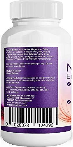 Cafeína con L-Teanina, Vitamina B5, Zinc y Magnesio para una Energía Suave y Enfoque - Energía enfocada para su Mente y Cuerpo - No.
