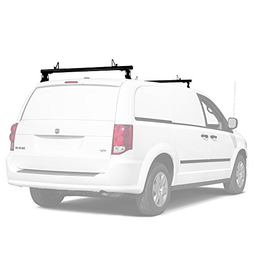 AA-Racks Model ADX32 Minivan Aluminum 2 Bar (50'') Universal Drilling Van Roof Rack with Ladder Stopper Sandy Black