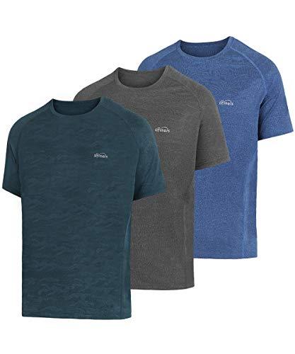 LIFINAIS Men's Athletic T-Shirt Workout Sports Tech Short Sleeve tee Shirts Gym Dri Fit Training Clothes (XX-Large, 3 Pack:CadetBlue,Cornflower Blue, - Gym Clothes Workout