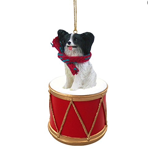 Conversation-Concepts-Papillon-Black-Dog-Sits-on-a-Drum-Christmas-Ornament-wGold-String