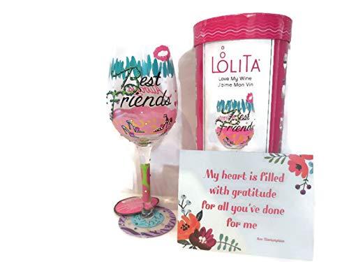 LolitaBest Friends Always Wine Glass Hand Painted - Best Friendship Gift for Women, Her, Best Friend, BFF, Best Wine Gifts