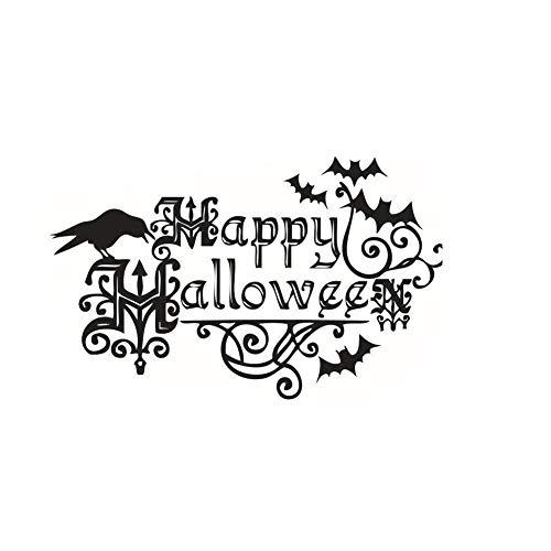 Fange DIY Removable Happy Halloween Crow and Bats Art Mural Vinyl Waterproof Wall Stickers Kids Room Decor Nursery Decal Sticker Wallpaper 22.4''x13.8'' ()