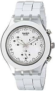 Swatch SVCK4045AG - Reloj analógico de mujer de cuarzo con correa blanca (cronómetro) - sumergible a 30 metros