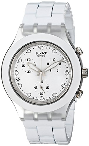Swatch Men's SVCK4045AG Quartz Chronograph Date Plastic White Dial - For Sale Swatch