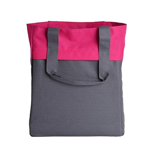 Bagiva Budget-Friendly Colorblock Totebag Fashion Tote Bag Shoulder Bag Everyday Shopping Travel School Bookbag Handbag(Magnet Grey / Tropical Pink,One Size)