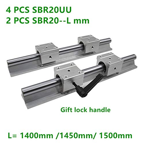 1500mm 2PC SBR20 Round Linear Guide Rail with Linear Block SBR20UU 4PCS for CNC Part