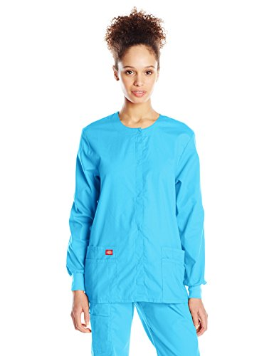 (Dickies Women's EDS Signature Snap Front Warm-Up Jacket, Turquoise, X-Large)