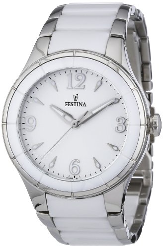 Festina Men's Quartz Watch with White Dial Analogue Display and White Stainless Steel Bracelet F16623/1