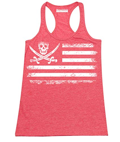 American Pirate Flag Women's Tank Top, L, H. Red
